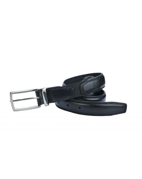 Black Leather Belt - Silver Buckle