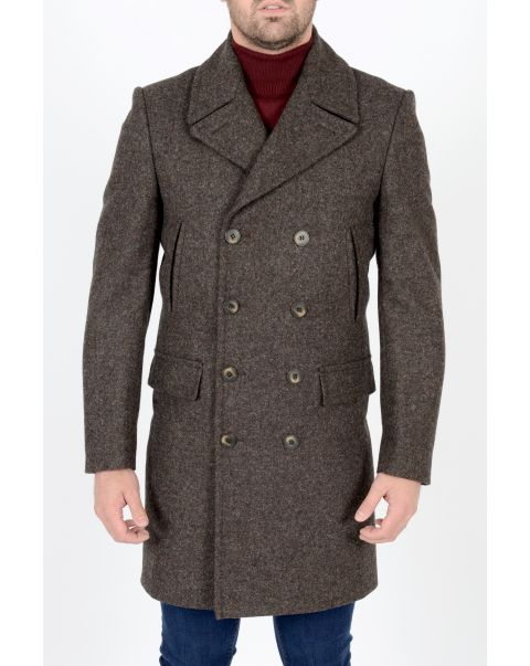 Mocha Double Breasted Overcoat - Chest 46