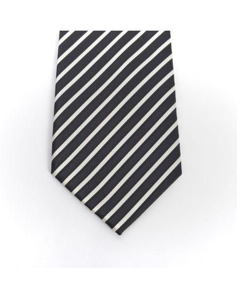 Black & Cream Stripe Tie