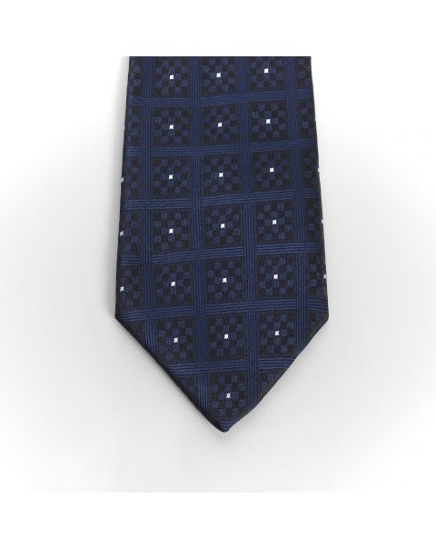 Navy Chequers White Spot Tie