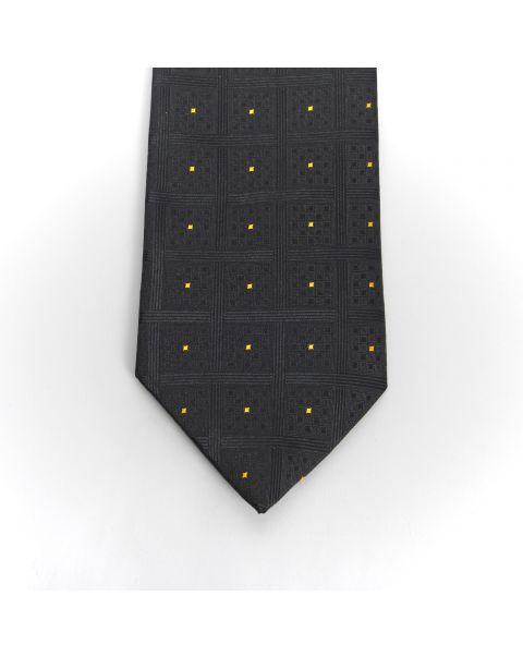 Black Chequers Gold Spot Tie