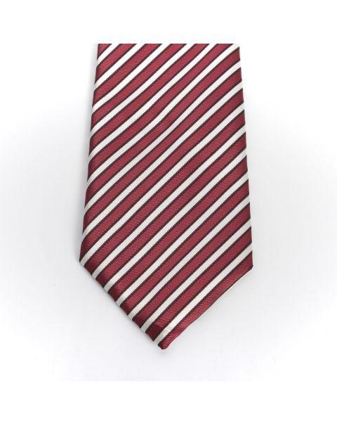 Burgundy & Cream Stripe Tie