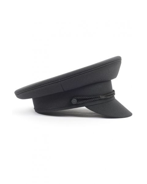 Black Chauffeur's Cap - Twin Cord - Cloth Peak