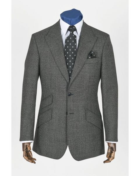 Charcoal Checked Button Two Jacket