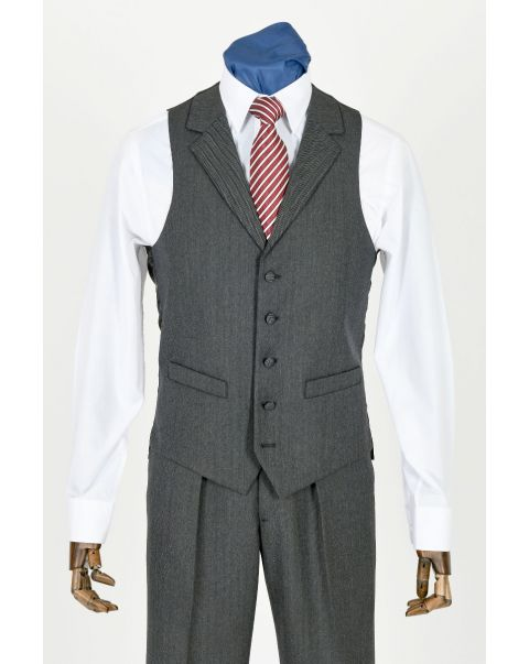 Charcoal Herringbone Waistcoat With Notch Lapels
