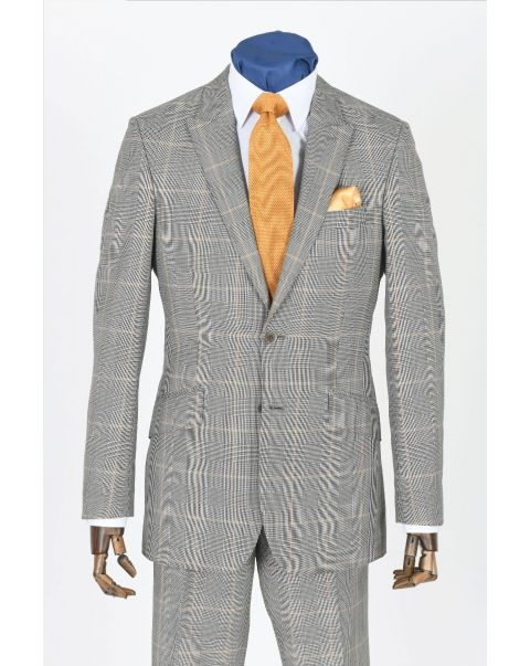 Grey & Gold Checked Button Two Jacket