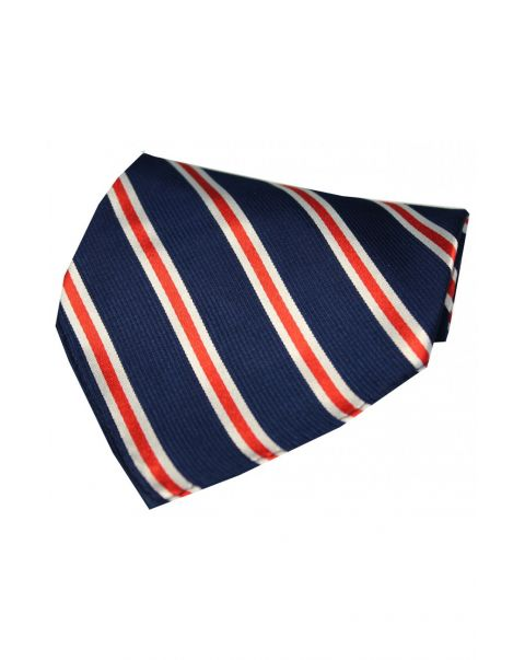 Navy & Red Striped Silk Pocket Square
