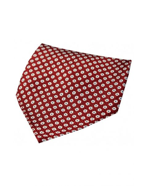 Red & White Target Spot Silk Pocket Square