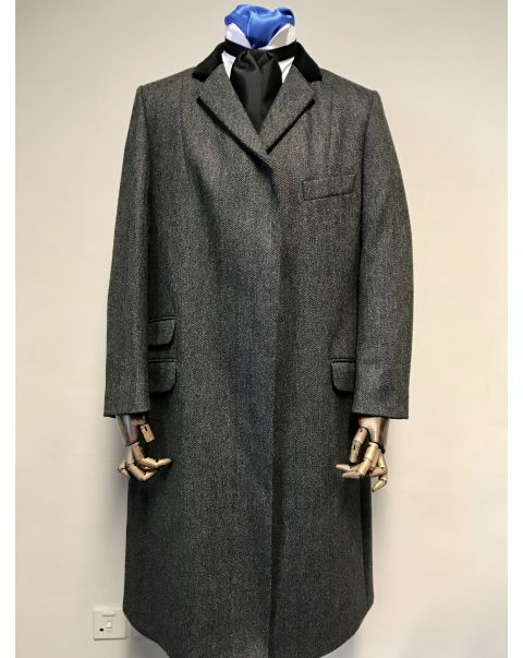 Charcoal Wool Herringbone Overcoat - Size 20