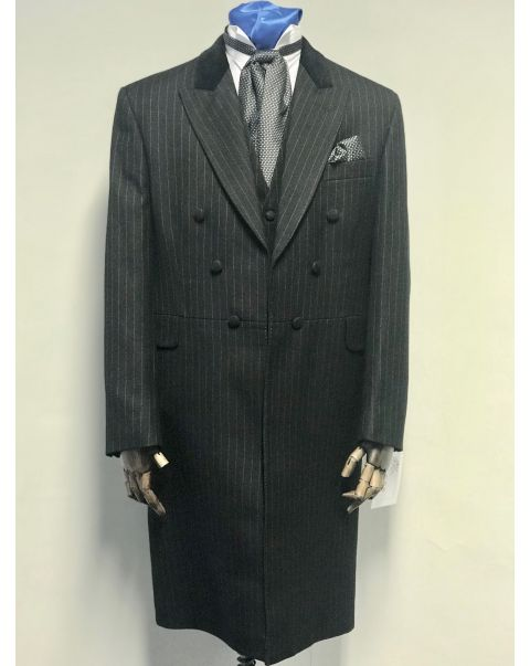 Black Pin Head Frockcoat Three Piece Suit - Chest 40