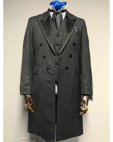 Charcoal Herringbone Frockcoat Two Piece Suit - Chest 38