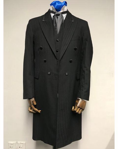 Black Self Stripe Frockcoat Three Piece Suit - Chest 38