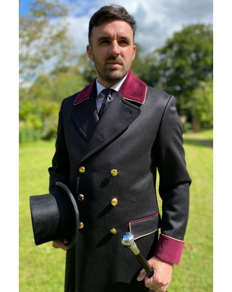 Lancer Overcoat - Burgundy Trim