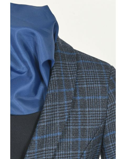 Blue Checked Cropped Jacket