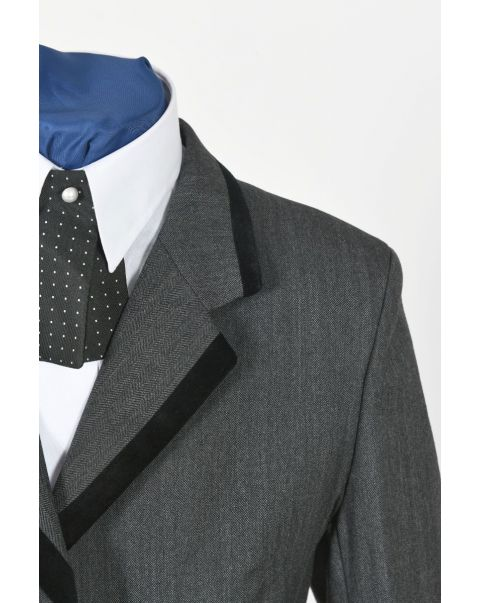 Charcoal Herringbone Button Three Jacket - Velvet Trim