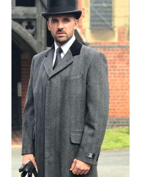 Charcoal Herringbone Overcoat