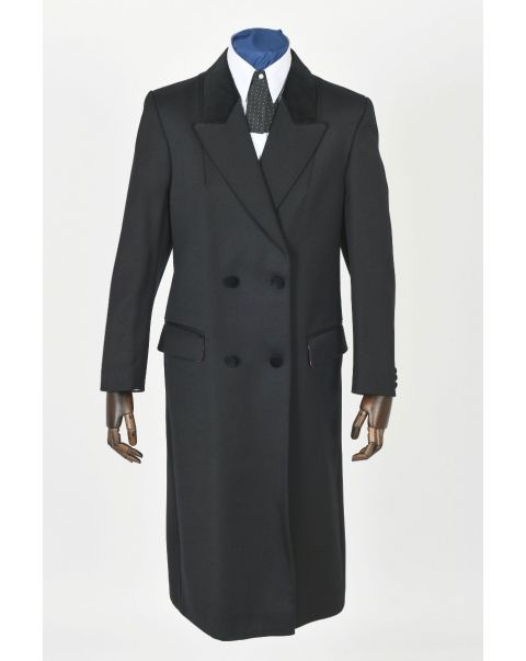 Double Breasted Overcoat - Velvet Trim