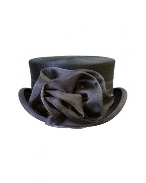Black Chiffon Hat Rose