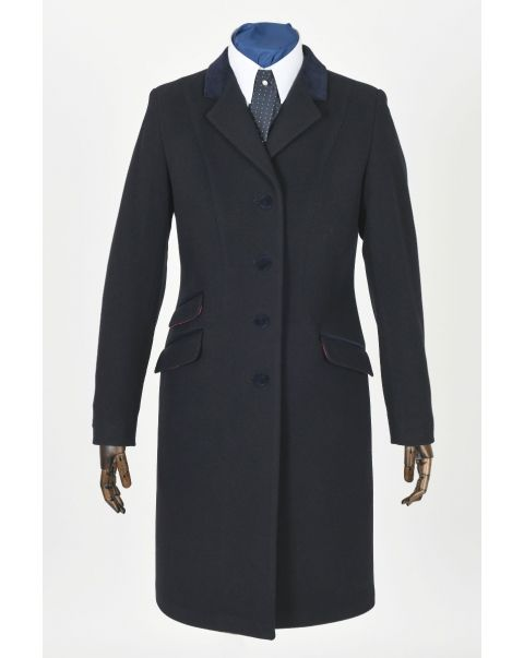 Navy Overcoat - Velvet Trim