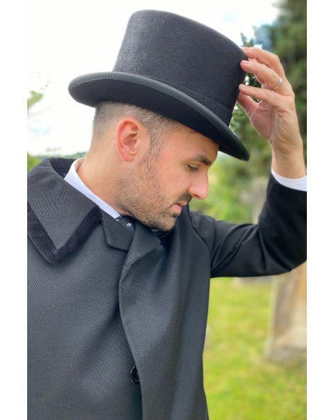 Prussian Collar Whipcord Raincoat - Black Trim