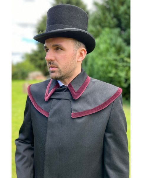 Prussian Collar Whipcord Raincoat - Burgundy Trim