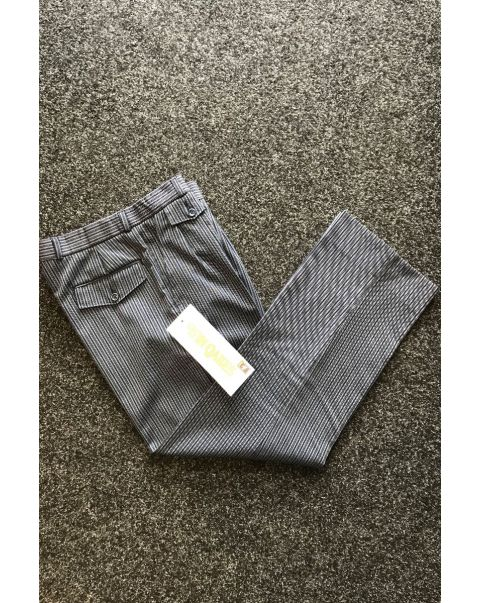 Blue Striped Classic Fit Trousers - W34 x L28