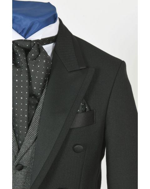 Houndstooth Waistcoat With Notch Lapels - Satin Trim