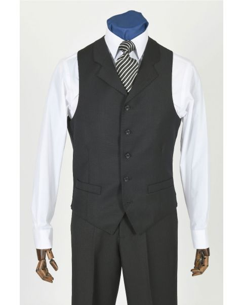 Self Stripe Waistcoat With Notch Lapels