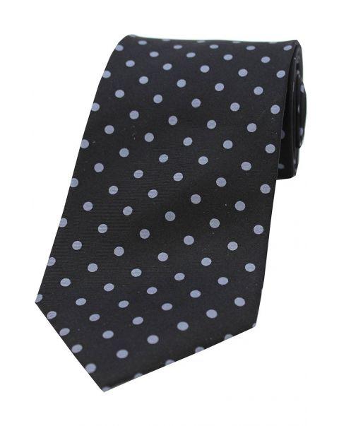 Black & Grey Polka Dot Silk Tie