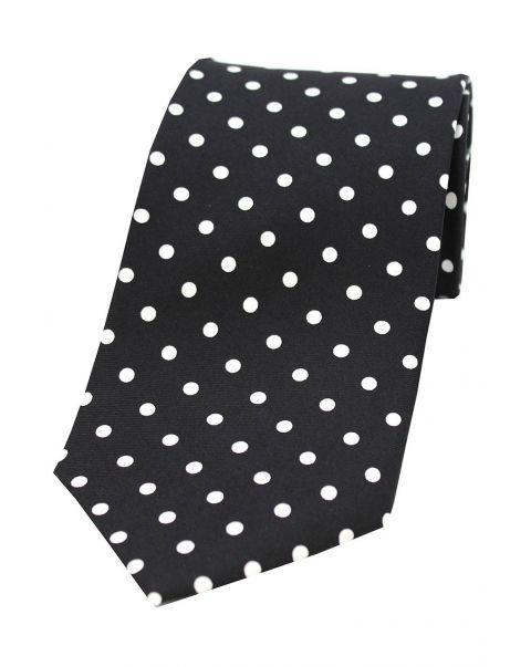 Black & White Polka Dot Silk Tie