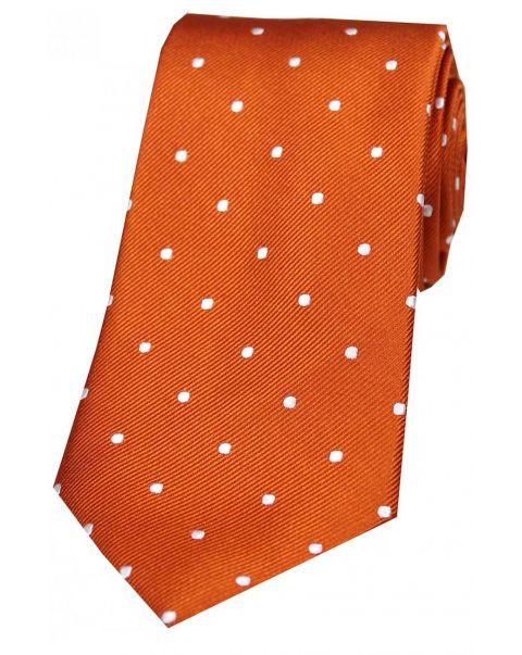 Burnt Orange & White Pin Dot Silk Tie