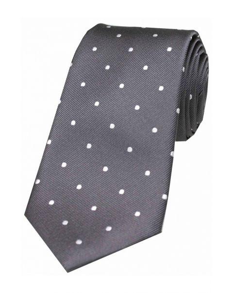 Charcoal & White Polka Dot Silk Tie