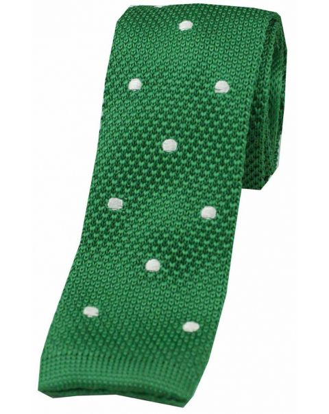 Emerald Green Spotted Knitted Silk Tie