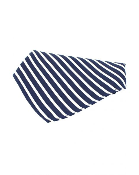 Navy & White Striped silk pocket square
