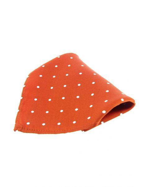 Burnt Orange & White Pin Dot Silk Pocket Square