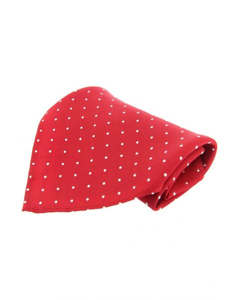 Red & White Pin Dot Silk Pocket Square