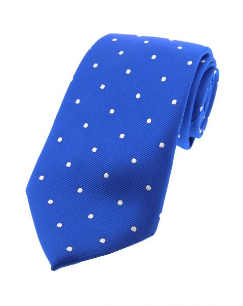 Royal Blue & White Pin Dot Silk Tie
