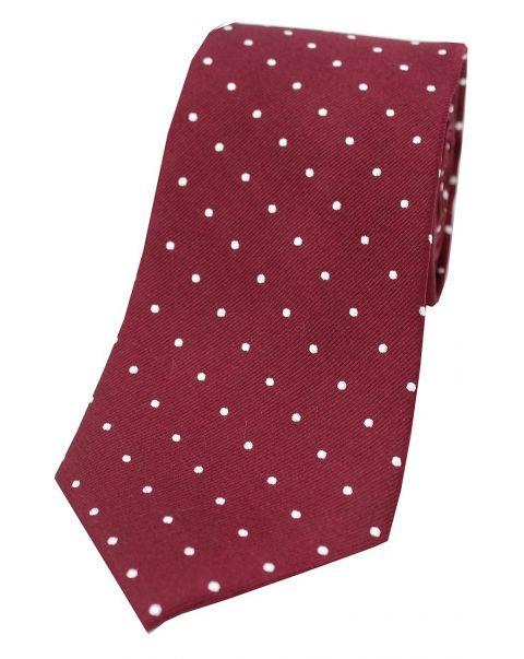 Wine & White Pin Dot Silk Tie