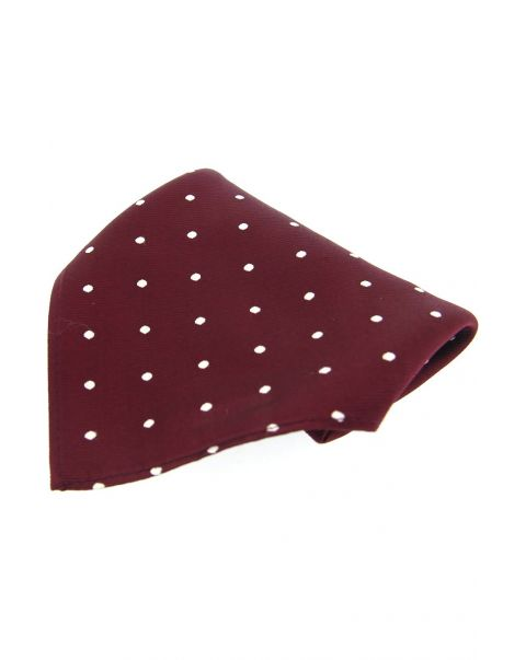 Wine & White Pin Dot Silk Pocket Square