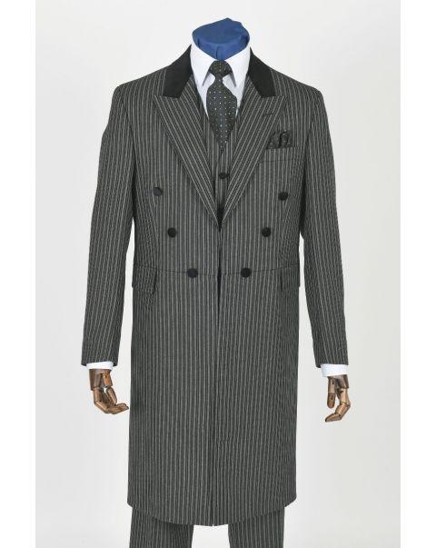 Self Facing Striped Frockcoat - Velvet Trim