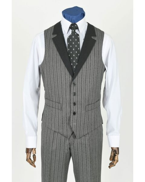 Special Stripe Waistcoat With Notch Lapels - Contrast Trim