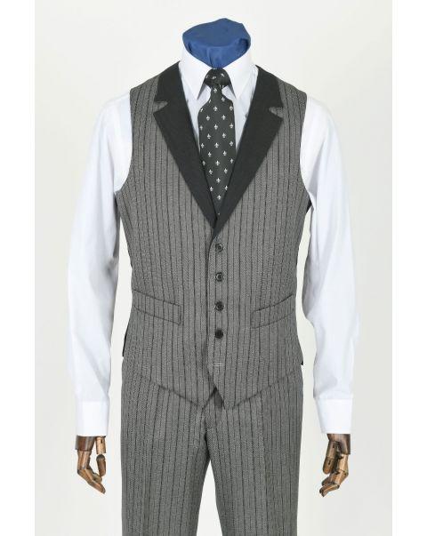 Special Stripe Waistcoat With Notch Lapels - Contrast Trim