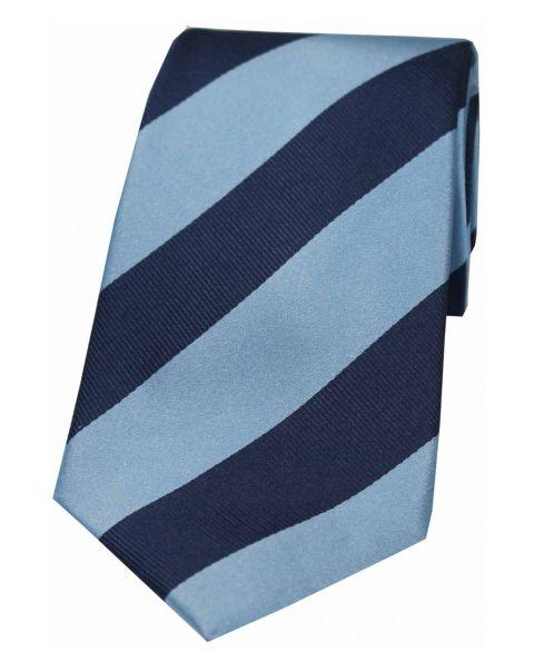 Sky Blue & Navy College Striped Silk Tie