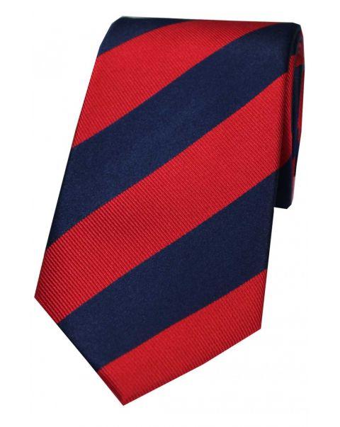 Red & Navy College Striped Silk Tie