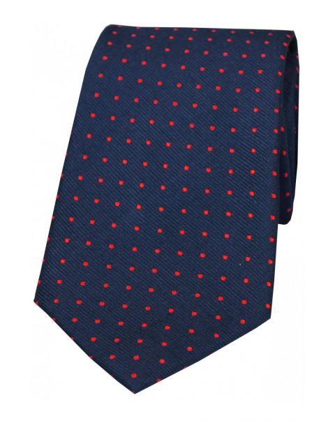 Navy & Red Pin Dot Silk Tie