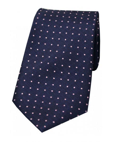 Navy & Pink Pin Dot Silk Tie