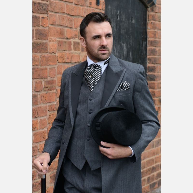 Satin Facing Charcoal Frockcoat - Cloth Trim