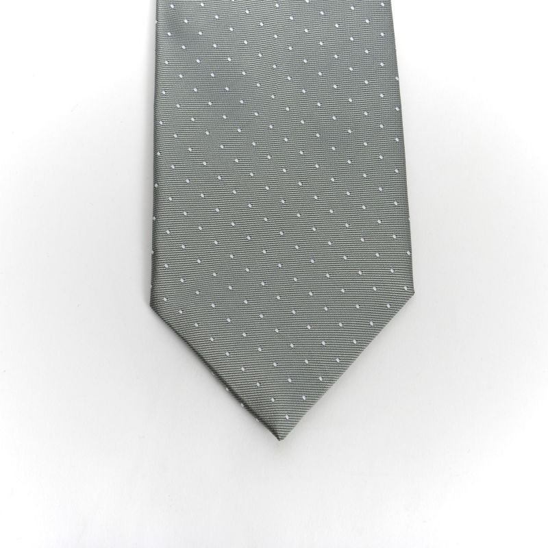 Grey White Dot Tie