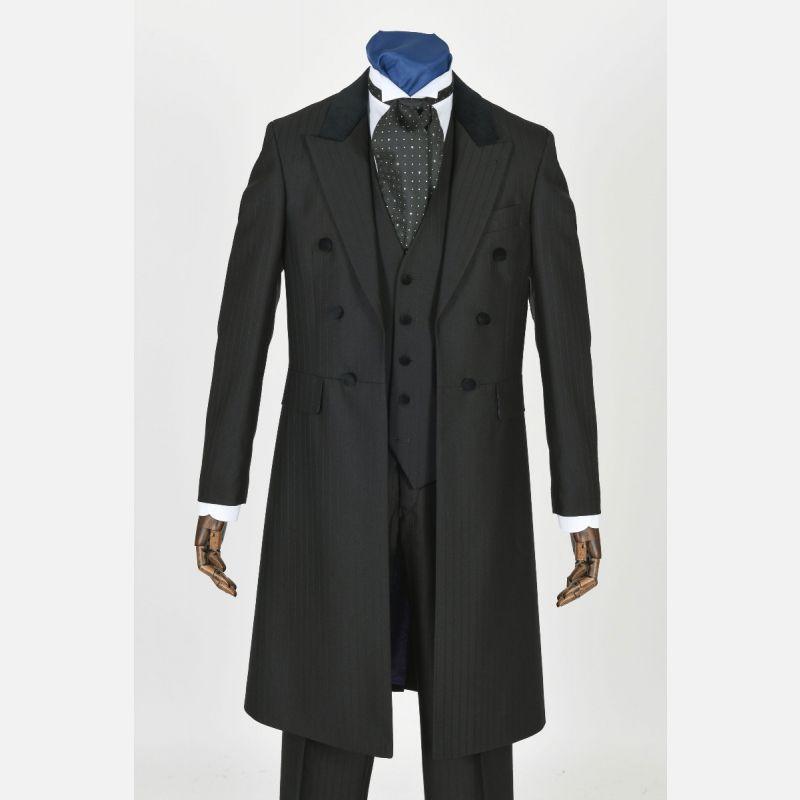 Self Facing Self Stripe Frockcoat - Velvet Trim