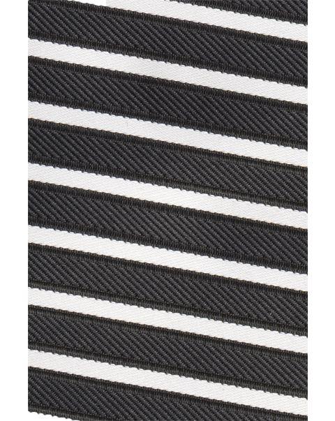 Black & Cream Stripe Pocket Square